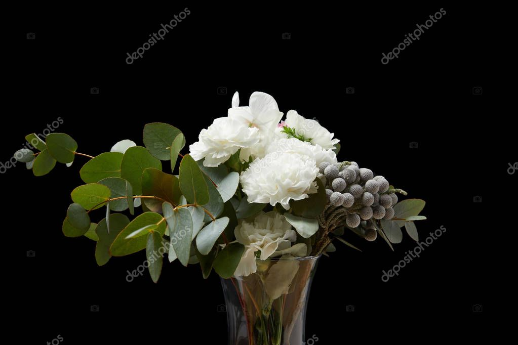 Tender flowers in vase isolated on black