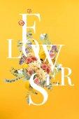 kreativní koláž s květinovou kytici a listy na žlutém znakem květiny
