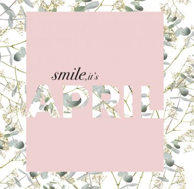 creative greeting card with beautiful floral collage and SMILE IT`S APRIL sign