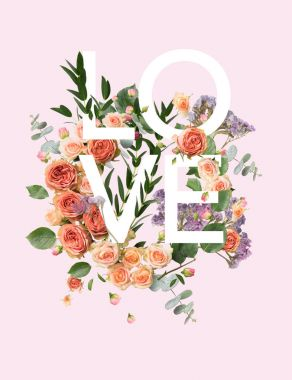 creative collage with floral wreath and leaves on pink with LOVE sign