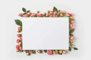 blank card and beautiful pink roses with green leaves on grey