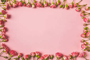Top view of frame made from beautiful pink roses and copy space on pink stock vector