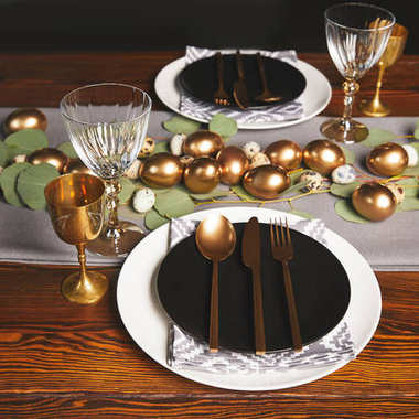 golden utensil and chicken eggs for easter decoration