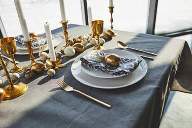 beautiful decorated easter table with sunlight