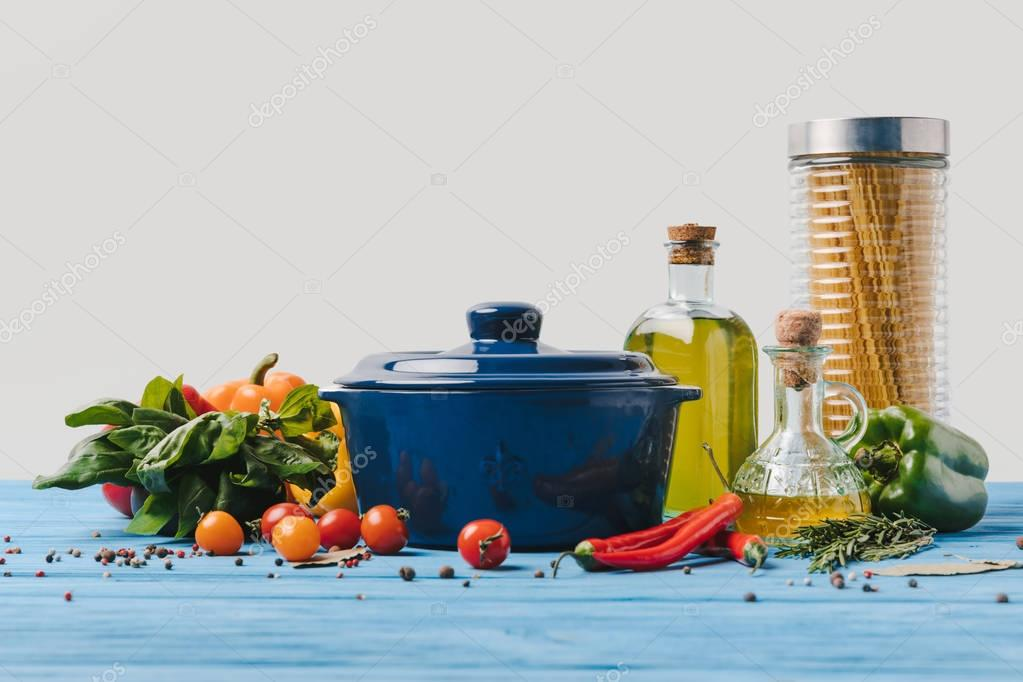 Ingredients for cooking pasta with vegetables on table