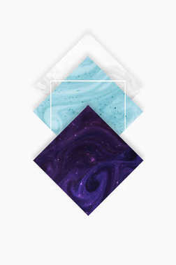 create design with white, blue and dark purple rhombus, isolated on white