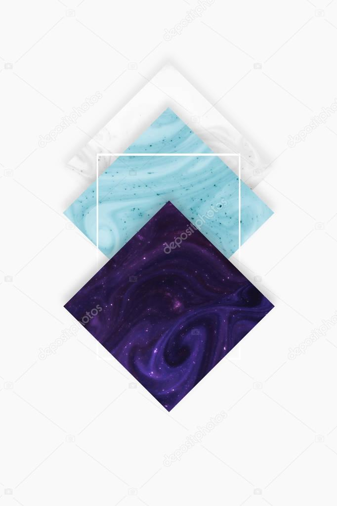 Create design with white, blue and dark purple rhombus, isolated on white stock vector