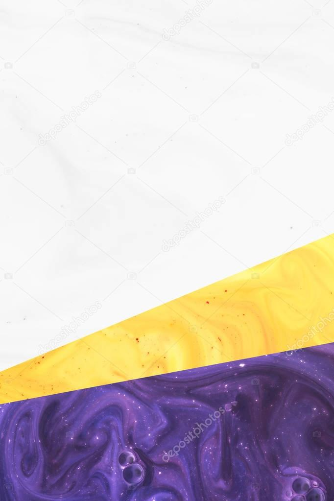 Create design with abstract white, yellow and purple paint texture stock vector