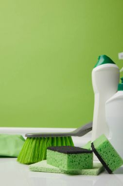 green brush, washing sponges and bottles of liquids for spring cleaning