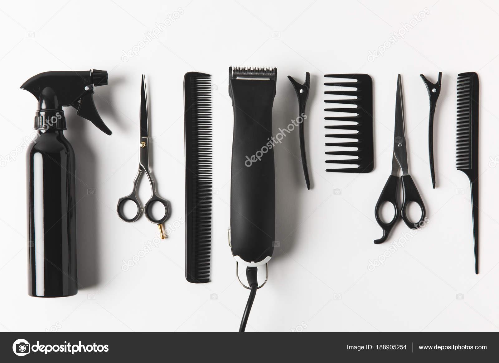 Вид Зверху Волосся Clipper Перукарське Обладнання Рядок Білому ... a3b4db7ec7ddf