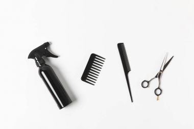 top view of spray bottle, combs and scissors, on white