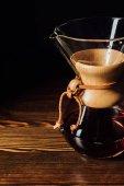 Closeup shot of alternative coffee in chemex