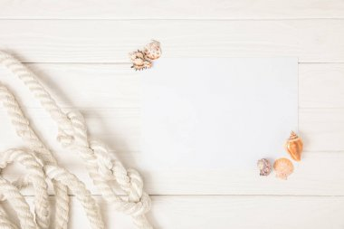 top view of white nautical knotted rope and empty paper with seashells on wooden surface