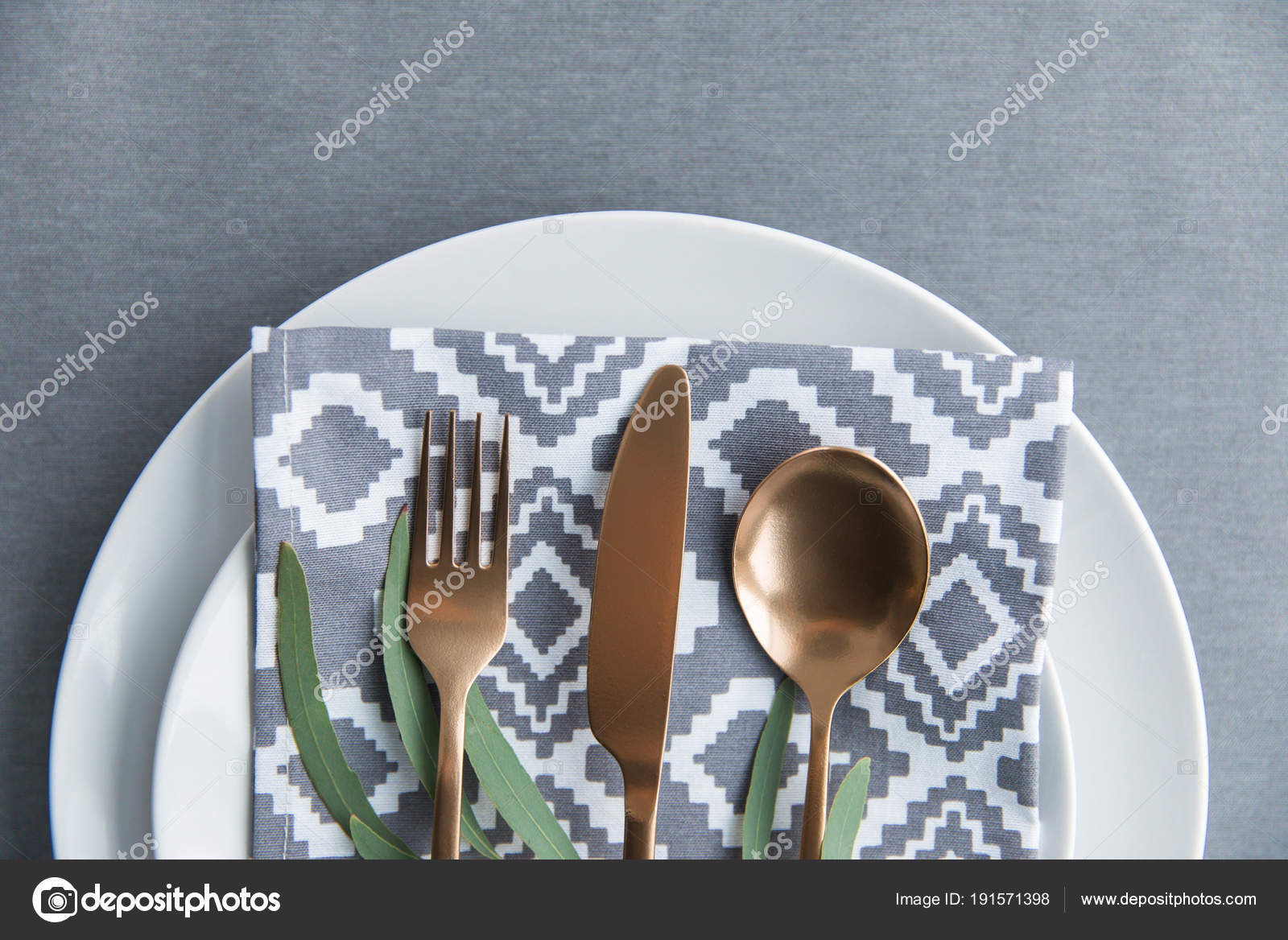 Flat Lay Rustic Table Setting Vintage Tarnished Silverware Napkin ...