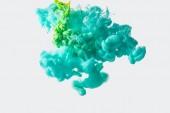 zár megjelöl kilátás a keverés, a zöld és világos türkiz festékek fröccsenő víz elszigetelt szürke