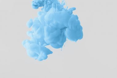 Close up view of bright pale blue paint splash in water isolated on gray stock vector
