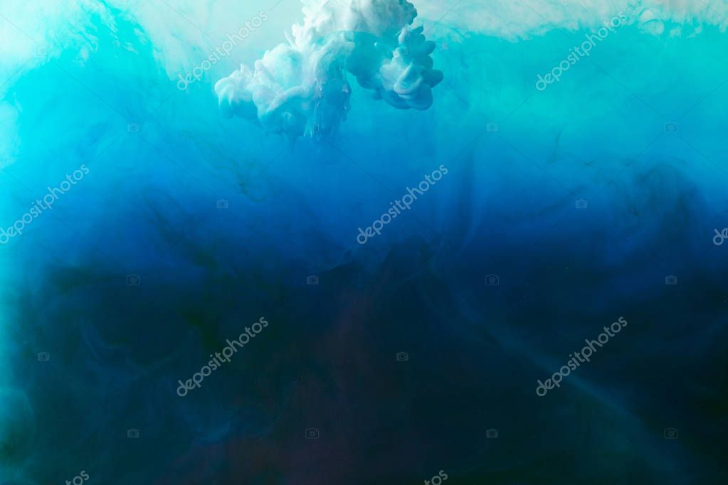 Full frame image of of mixing of blue, turquoise, black and white paints splashes stock vector