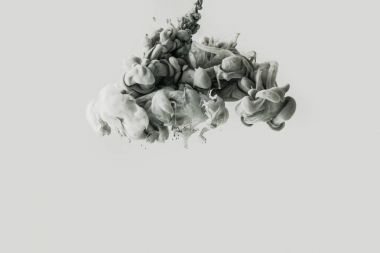 Close up view of smoke or mixing light gray and black paints splashes in water isolated on gray stock vector
