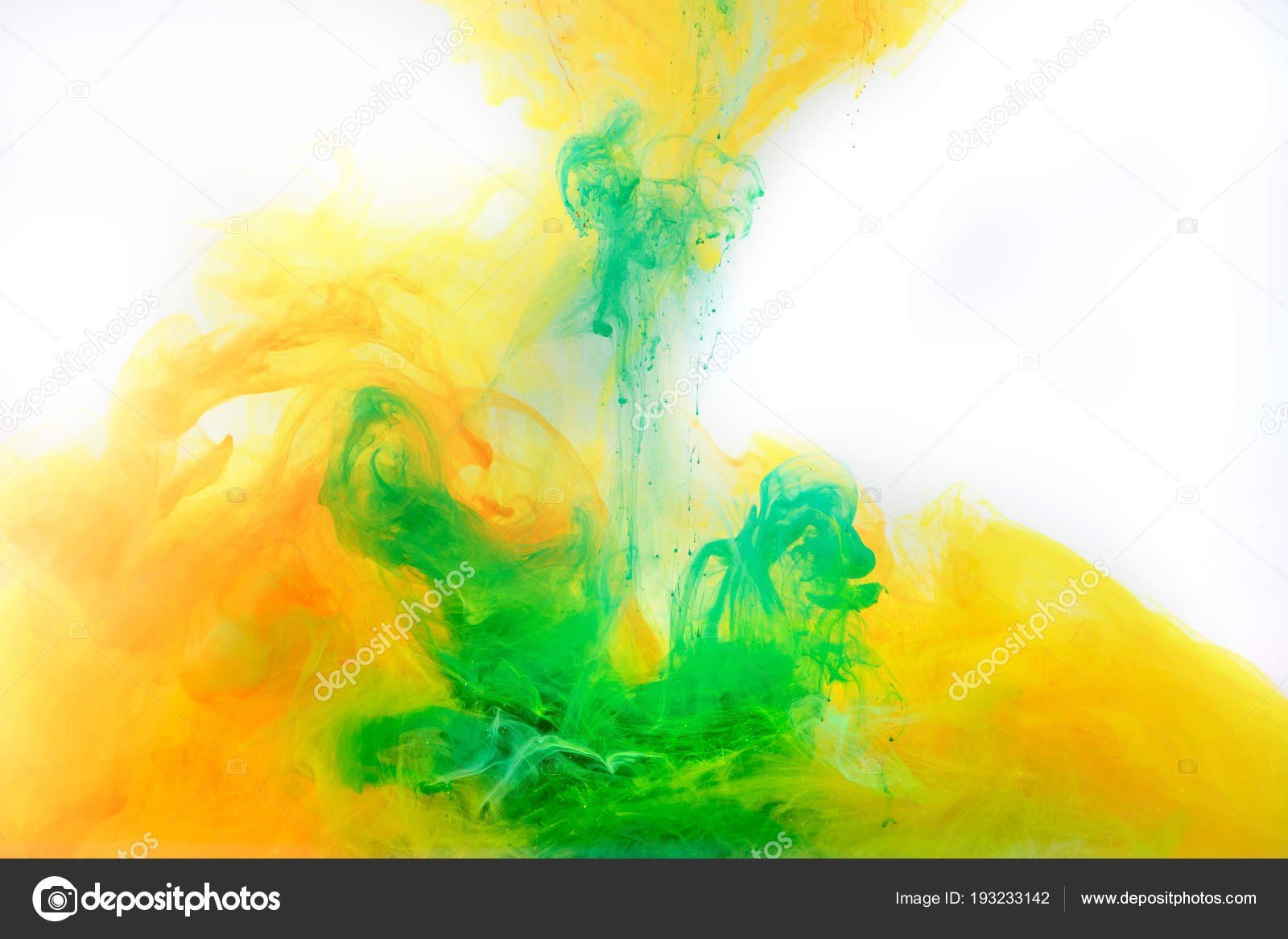 Abstract Background Green Orange Paint Swirling Water
