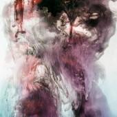 Fotografia Priorità bassa fumosa con viola e grigio spruzzi di vernice in acqua