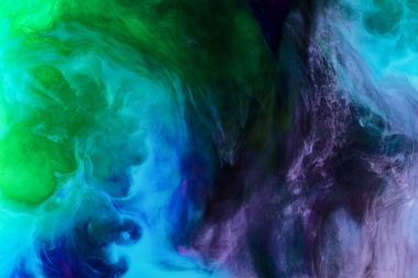 Creative background with blue, purple and green paint swirls looks like space stock vector