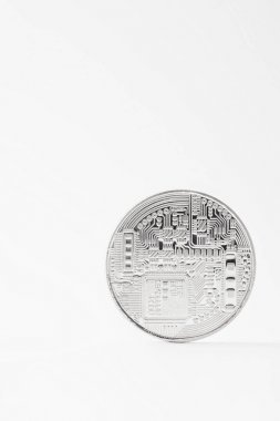 Close-up shot of silver bitcoin isolated on white stock vector