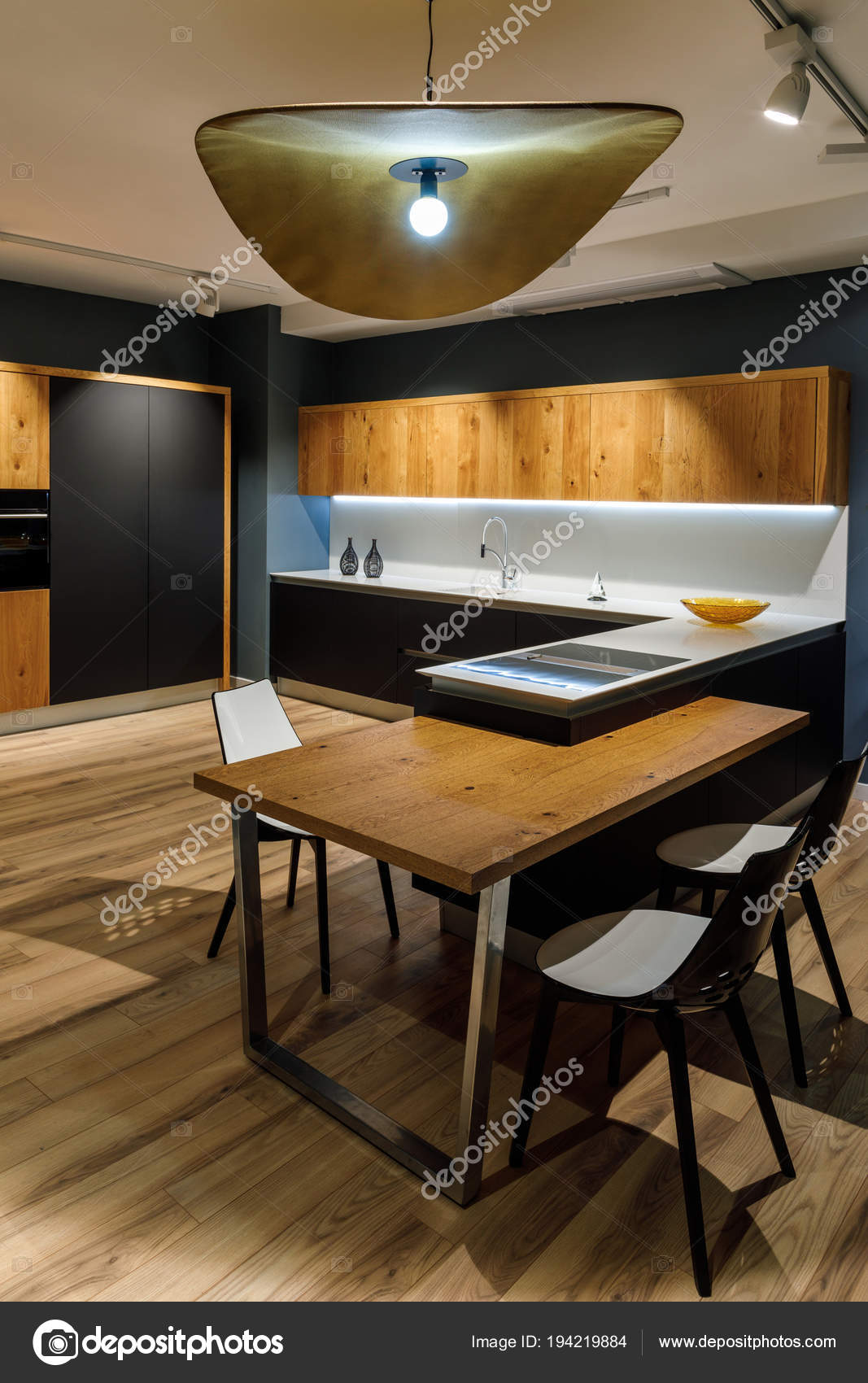 Renovated kitchen interior large lamp table renovated kitchen interior large lamp table mozeypictures Choice Image