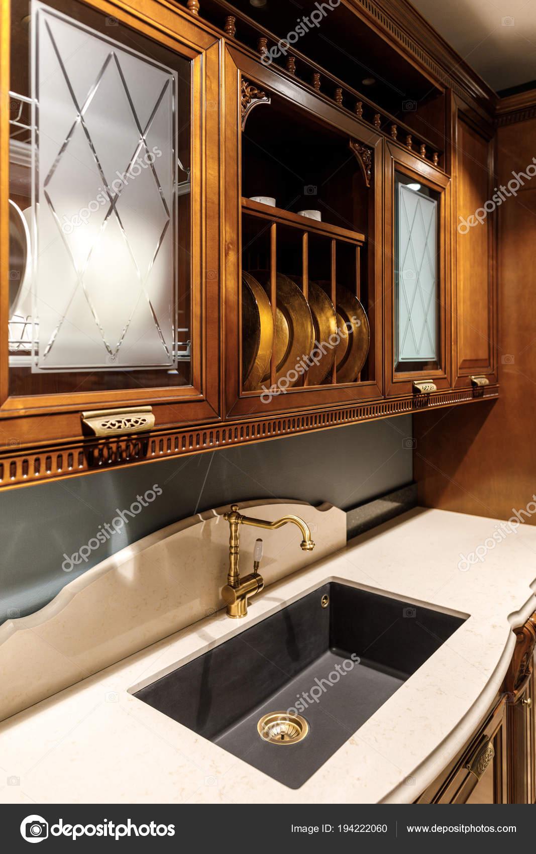 Interior Cozinha Moderna Com Pia Estilo Vintage Stock Photo