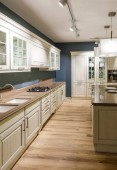 Photo Interior of modern kitchen in white and blue tones