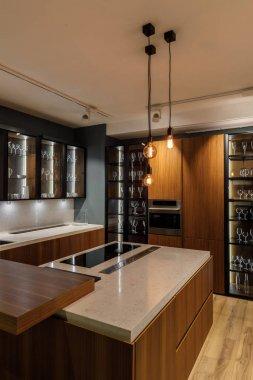 Stylish kitchen with elegant wooden cabinets