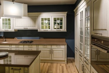 Stylish kitchen with elegant wooden counter