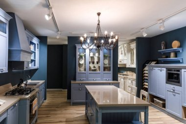Interior of modern kitchen in blue tones stock vector