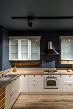 Interior of modern kitchen with white cabinets