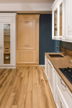 Renovated kitchen interior with stylish details