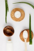 top view of organic cream in container and spoon with salt on wooden slices, aloe vera leaves and wooden bowl with aloe vera juice