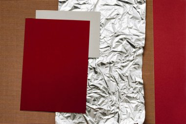 close-up view of various detailed paper, foil and cardboard textures