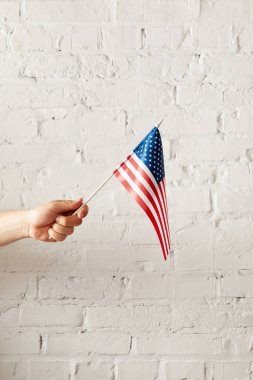 cropped image of man holding american flagpole against white brick wall