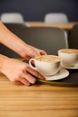 Ausgeschnittene Ansicht einer Frau, die Untertasse mit Cappuccino hält