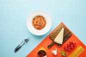 byt ležel s lahodnými špagetami s rajčatovou omáčkou v talíři v blízkosti příborů a ingrediencí na modrém, červeném pozadí