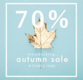 Draufsicht auf herbstliches goldenes Ahornblatt auf blauem Hintergrund mit Herbstverkauf, 70 Prozent Illustration