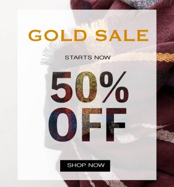 Top view of burgundy wool plaid scarf on white background with gold sale 50 percent off illustration stock vector