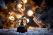 Fényképek karácsonyfa hógolyóban álló hóban fenyő ágak és fények bokeh éjjel
