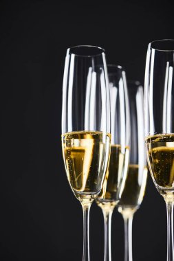 glasses of champagne for celebrating christmas, isolated on black