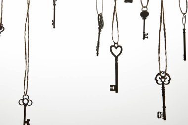 Vintage keys hanging on ropes isolated on white stock vector