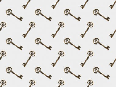 Seamless pattern with vintage keys on white background stock vector