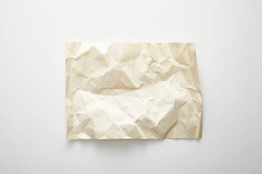 Top view of empty crumpled vintage paper on white background stock vector