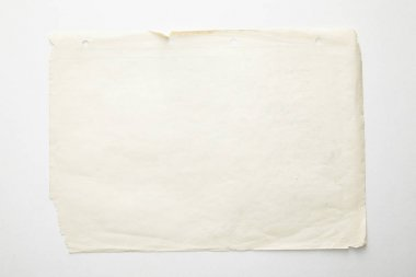 Top view of empty vintage paper on white background stock vector