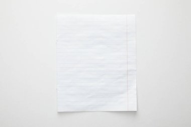 Top view of empty paper on white background stock vector