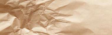 Top view of empty crumpled craft paper texture, panoramic shot stock vector