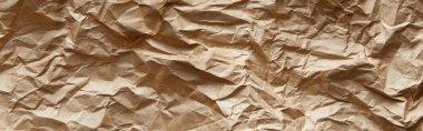 Top view of empty beige crumpled craft paper texture, panoramic shot stock vector